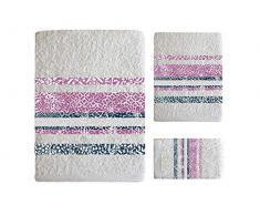 SECANETA Badetücher, Jacquard, 100% Baumwolle, für Schminktisch, Waschbecken und Dusche, Eiris (weiß)