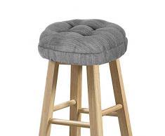 baibu Hocker-Bezüge, rund, super weich, rund, Barhocker, Kissenbezüge, Sitzkissen 12 (30 cm) grau