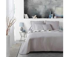 Douceur dIntérieur Dorinette Tagesdecke für Einzelbett, matt, Weiß, 180 x 220 cm, grau, 180 x 220 cm