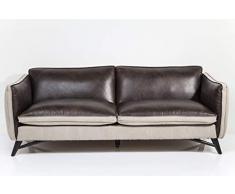 Kare Design Sofa Canvas 3-Sitzer, Dreisitzer Couch, Ledersofa, Ledercouch, Sofabezug aus Echtleder, Loungesofa, (H/B/T) 80x211x90 cm, Leder, braun (80 x 211 x 90 cm