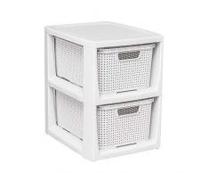 BranQ - Home essential Regal in Rattan Design, Kunststoff PP, Creme, 29,5 x 24 x 32,8 cm