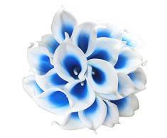 Grace Florist Künstliche Calla-Lilien, 10 Stiel, Brautsträuße, künstliche Latex, echte Haptik, für Zuhause, Party, Dekoration, 38 cm weiß/blau