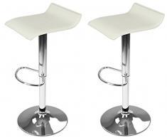 DP Grifería Barhocker, 2 Stück, 16010 + 16001, mit Sockel in Chrom und Sitzfläche in Weiß (Kunstleder)