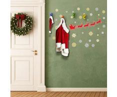 Wallflexi Weihnachtsdekoration Wandaufkleber Weihnachts-Schneeflocken mit Kleiderhaken, Wandsticker, Wohnzimmer, Kinder, Kinderzimmer, Schule, Restaurant, Café, Hotel, Zuhause, Büro, Dekoration, mehrfarbig