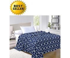 Elegant Comfort #1 Fleecedecke auf Amazon Micro-Fleece Ultra Plüsch Würfelmuster - Ganzjahresdecke, Ganzjahresdecke, Queensize-Decke, Marineblau