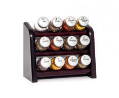 Gald Gewürzregal, Küchenregal für Gewürze und Kräuter, 12 Gläser, Holz, Venge (schwarz)/matt, 22 x 21 x 10 cm