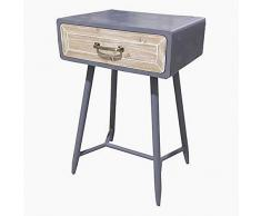 BigBuy Home Nachttisch aus Tannenholz, Eisen, 45 x 35 x 69 cm, mehrfarbig, Einheitsgröße