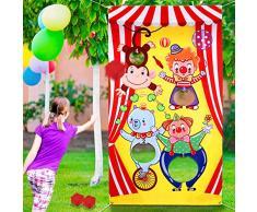 Konsait Karneval Wurfspiele mit 3 großen Sitzsack Fun Zirkus Tier Karneval Party Spiele für Kinder Indoor Outdoor Wurfspiele für Kinder Karneval Party Aktivitäten Dekoration Lieferant
