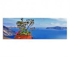 Panoramabild auf Leinwand und Keilrahmen 150x50cm Santorini Blumentopf Blumen Meerblick Himmel