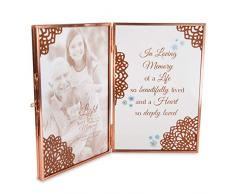 Pavillon – In Loving Memory of a Life so Beautifully Lived and a Heart so Deeply Loved – Klares Glas und Metall Kupfer Faltbarer Bilderrahmen 10,2 x 15,2 cm