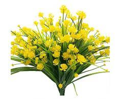 Künstliche Fake Blumen, 4 Bündel Outdoor UV-Beständig Greenery Sträucher Pflanzen Blumentopf für Drinnen Außen Aufhängen Home Garten Decor Gelb