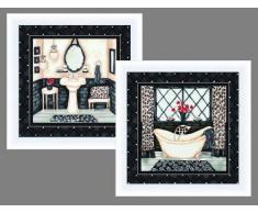 Buyartforless Arbeit Elegantes Set von 2 ea 30,5 x 30,5 cm Posterdruck, weißer Rahmen, Wanne und Waschbecken, Dekoration von Lorilynn Simms, Mehrfarbig