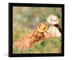 Gerahmtes Bild von Pierre Auguste Renoir Young Girls on The River Bank, Kunstdruck im hochwertigen handgefertigten Bilder-Rahmen, 60x40 cm, Schwarz matt