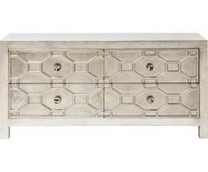 Kare Sideboard Alhambra, Kleines, Schmales Lowboard, Wohnzimmer - TV - Board mit 4 Schubladen, Silber lackierter Holzschrank, (H/B/T) 61x124x38 cm