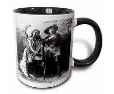3dRose Sitting Bull und Buffalo Bill 1895 White-Two Ton Schwarz Tasse, Keramik, Mehrfarbig, 10,2 x 7,62 x 9,52 cm