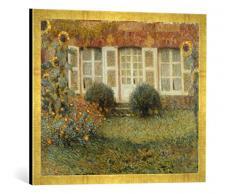 Gerahmtes Bild von Henri Le Sidaner Gartenhaus und Sonnenblumen, Kunstdruck im hochwertigen handgefertigten Bilder-Rahmen, 70x50 cm, Gold Raya