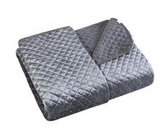 Eurofirany Gesteppte Decke Pailletten Stahlgrau Steppdecke Velvet Samt Tagesdecke Überwurf Glänzend Gemütlich Weich Bettdecke Bettüberwurf Schlafzimmer Wohnzimmer, Polyester, 170x210 cm