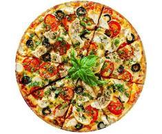 Broshan Runde Decke, Handtuch, kreative realistische Pizza-Decke / Überwurf, Picknick, bunte Fleece-Decke warm und gemütlich für alle Jahreszeiten, flauschige Flanelldecke, Stoff für Sofa, Bett. Huge (71 Dia) Bild 2