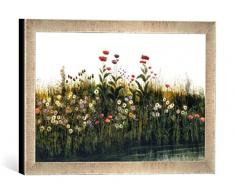 Gerahmtes Bild von Andrew Nicholl Poppies, Daisies and Thistles on a River Bank (Pair of 85964), Kunstdruck im hochwertigen handgefertigten Bilder-Rahmen, 40x30 cm, Silber Raya