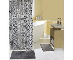 15-teiliges Bad-Set komplett mit 2Memory Foam Bad-Teppiche, Vorhang für die Dusche und Haken in grau