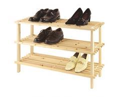 axentia Holzschuhregal mit 3 Ablageflächen für insgesamt 9 Paar Schuhe, Schuhablage mit Stecksystem und FSC-Zertifizierung, das Holzregal lässt sich ohne lästiges Schrauben montieren, Schuhbank mit den Maßen ca.