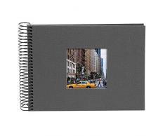 Goldbuch Spiralalbum mit Bildausschnitt, Bella Vista, 24x17 cm, 40 schwarze Seiten, Leinen, Grau, 20 645