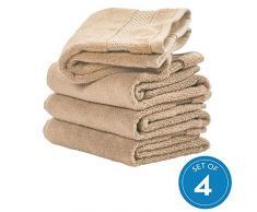 iDesign 4er-Set Handtücher, kleines Handtuch mit gewebter Verzierung aus Baumwolle, weiches und saugfähiges Handtuch Set mit Aufhänger für Waschbecken und Gäste-WC, beige