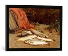 Gerahmtes Bild von William Geddes Brown Trout on a River Bank, Kunstdruck im hochwertigen handgefertigten Bilder-Rahmen, 60x40 cm, Schwarz matt