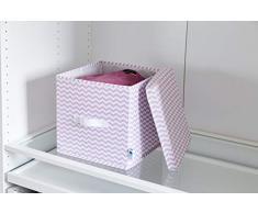 Hochwertige Aufbewahrungsbox von Store It, Ordnungsbox mit Deckel im trendigen Chevron Design, Geeignet als Kallax Boxen / Einsatz, 30x30x30 cm, rosa
