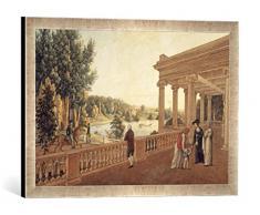 Gerahmtes Bild von AKG Anonymous Pawlowsk, Schloßpark, Pavillon/ Aquarell, Kunstdruck im hochwertigen handgefertigten Bilder-Rahmen, 60x40 cm, Silber raya