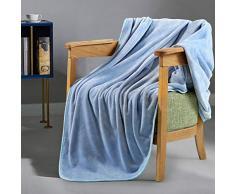 LEISURE TOWN Fleecedecke für Kingsize-Bett, weich, Sommer, kühlend, atmungsaktiv, luxuriös, für Reisen und Camping, leicht für Sofa, Couch und Bett Throw (50 x 60) hellblau