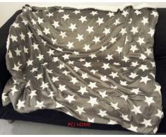 Rapport Sterne Dekorative Überwurf Decke Weich Fleece Sherpa New, grau