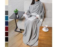 PAVILIA Deluxe Fleece Decke mit Ärmeln für Erwachsene, Herren, und Women  Elegante, Cozy, Warm, Extra Weich, Plüsch, funktional, Leicht Tragbar Überwurf 50 x 70 inches Hellgrau