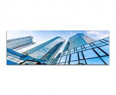 Panoramabild auf Leinwand und Keilrahmen 150x50cm Frankfurt am Main Deutsche Bank Gebäude