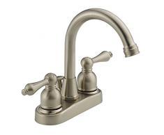 DMH Zwei Griff Schwanenhals Auslauf 4-Zoll Centerset Badezimmer WC Waschbecken Wasserhahn Satin/Nickelfarben