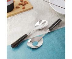 InsTook Salatlöffel Gabel Servierset aus Edelstahl mit Horngriff, einzigartige Küchenutensilien, Laddles & Servierwerkzeuge