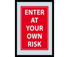 empireposter - Fun - Enter At Your Own Risk - Größe (cm), ca. 20x30 - Bedruckter Spiegel, NEU - Beschreibung: - Bedruckter Wandspiegel mit schwarzem Kunststoffrahmen in Holzoptik -