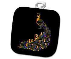 3dRose phl_262522_1 Topflappen, Motiv mehrfarbiger Kupferpfau auf Schwarz, 20,3 x 20,3 cm