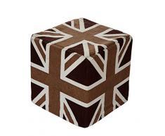 EHC Tagesdecke Union Jack Kissen quadratisch Pouf hochzeitsplanungsteam Fußablagen, mokka/Schokolade Braun, 40x40x 45cm