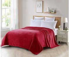 ForenTex Decke für Sofa und Bett aus Flanell, 300 g/m², fusselfrei, weich, warm, Verschiedene Größen und Farben S-3093, Rot, 130 x 150 cm, 2 Stück