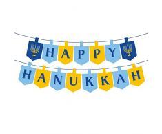 Rainlemon Chanukah Happy Hanukkah Banner Hanukka Partydekoration