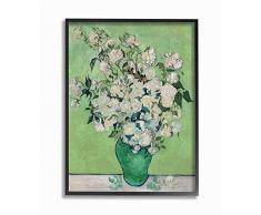 Stupell Industries Van Gogh, klassisches Gemälde auf Leinwand, Blumentopf, Grün/Weiß schwarz, gerahmt 16x20 Design vom Künstler Vincent Van Gogh.