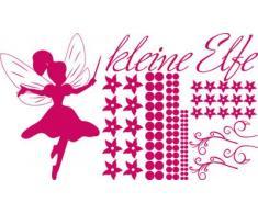 Graz Design 770089_100x57_041 Wandtattoo Set Kinderzimmer Mdchen Spruch kleine Elfe mit Blumen 100x57cm Pink