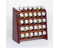 Gald Gewürzregal, Küchenregal für Gewürze und Kräuter, 30 Gläser, Holz, Braun/glänzend, 31.5 x 34.5 x 14.5 cm