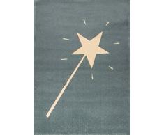 Art for Kids Teppich mit Zauberstab-Motiv. Qualitätssiegel Oeko-Tex Standard 100. Aus 100% Polypropylen, blau, 120 x 170 cm