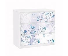 Apalis 91602 Möbelfolie für Ikea Malm Kommode Blaues Fantasiemuster, größe 3 mal, 20 x 80 cm