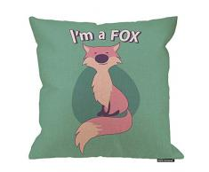 HGOD Designs Fuchskissenbezug, süßer Cartoon-Stil, Fuchs mit Titel oben mit Zitat I Am Fox, Baumwolle, Leinen, Polyester, Dekoration, Sofa, Schreibtisch, Stuhl, Schlafzimmer, 40,6 x 40,6 cm 18x18 Inch A3-0045