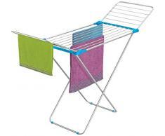 Casabriko Wäschetrockner Wäschekorb Wäschetruhe Steg mit Flügel, Aluminium eloxiert/Stahl, Azzurro/Fucsia, 55x6x131 cm
