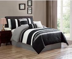 Luxlen Bettwäsche-Set, Bettdecke King schwarz