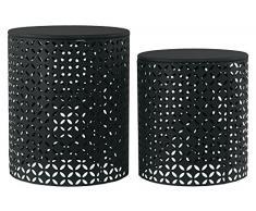 Urban Trends Beistelltisch aus Metall, rund, mit perforiertem Diagonalmotiv, Schwarz, 2 Stück